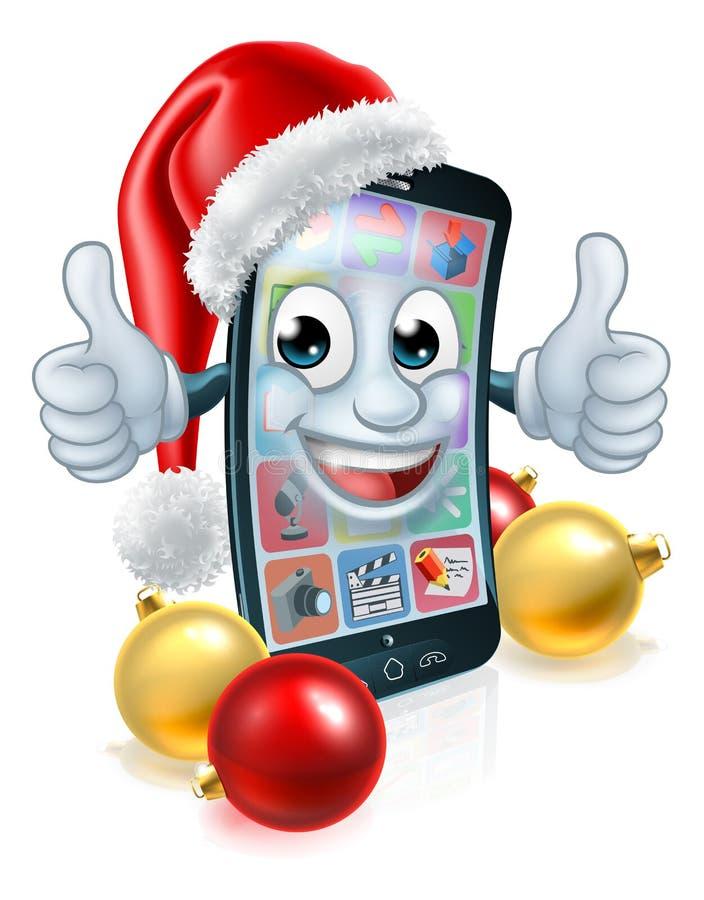 Mascotte di Natale del telefono cellulare delle cellule in Santa Hat illustrazione vettoriale