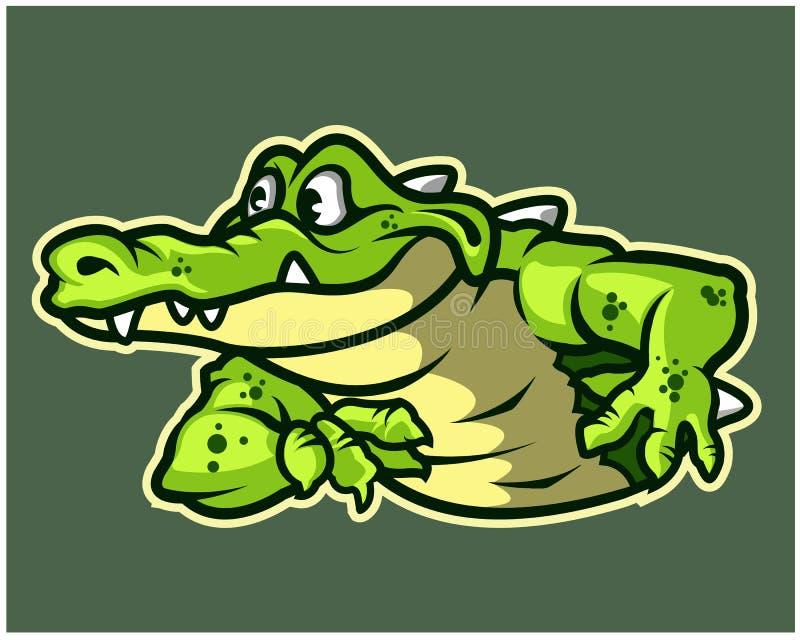 Mascotte drôle Logo Badge de bande dessinée de crocodile illustration stock