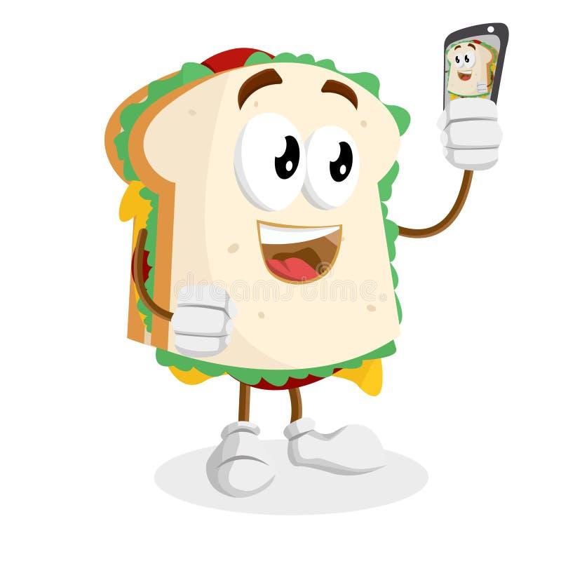 Mascotte e fondo del panino con la posa del selfie royalty illustrazione gratis