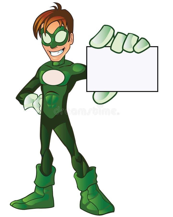 Mascotte eccellente verde del fumetto dell'eroe del ragazzo illustrazione di stock