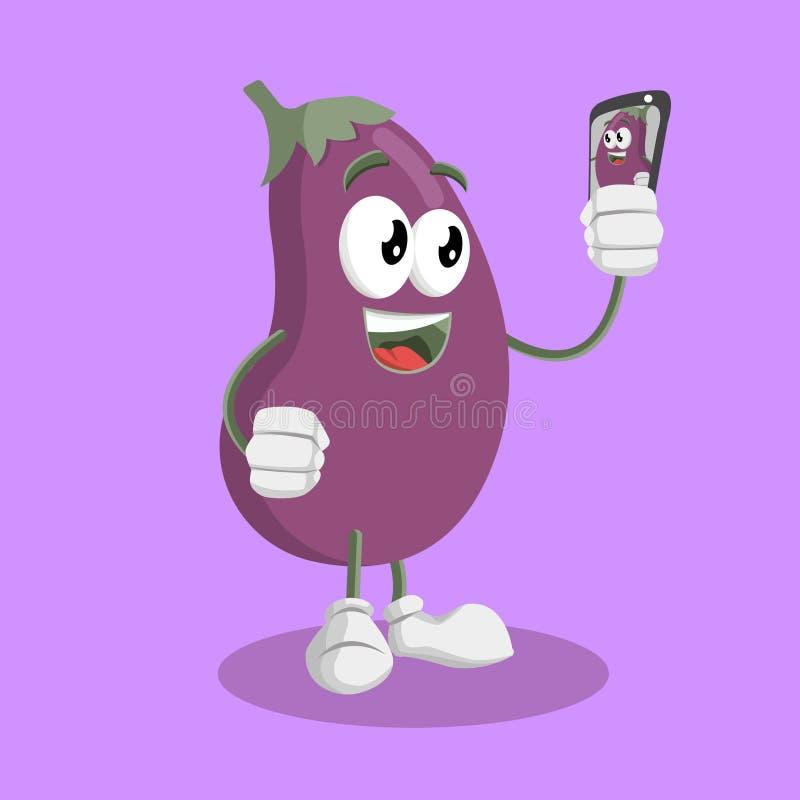 Mascotte et fond d'aubergine avec la pose de selfie illustration stock