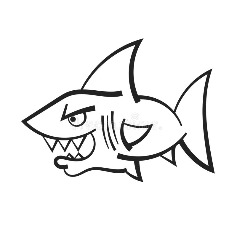 Mascotte fâchée de requin de bande dessinée pour votre conception illustration libre de droits