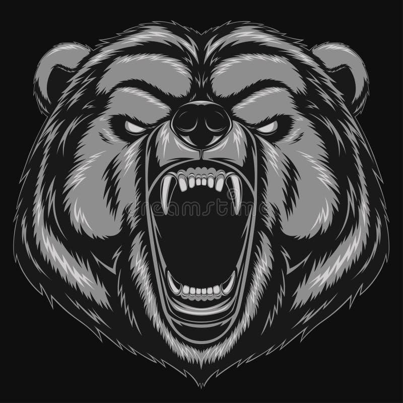 Mascotte fâchée de tête d'ours illustration libre de droits