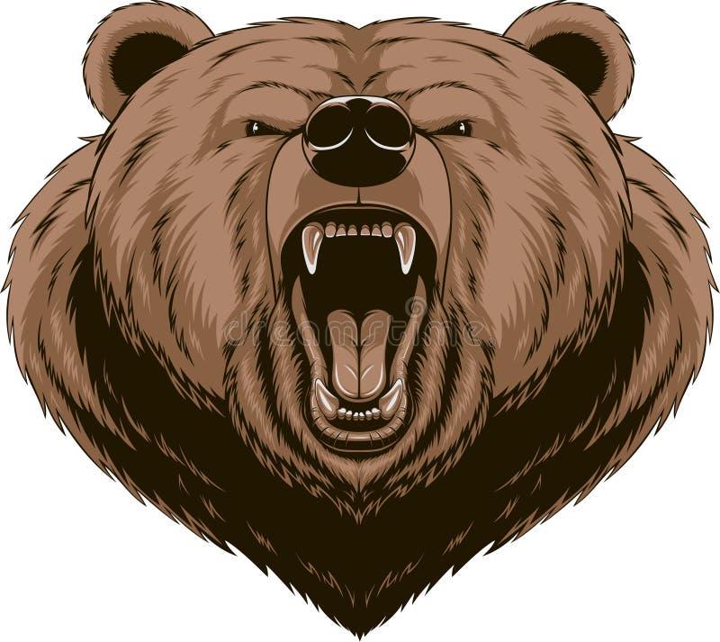 Mascotte fâchée de tête d'ours illustration de vecteur