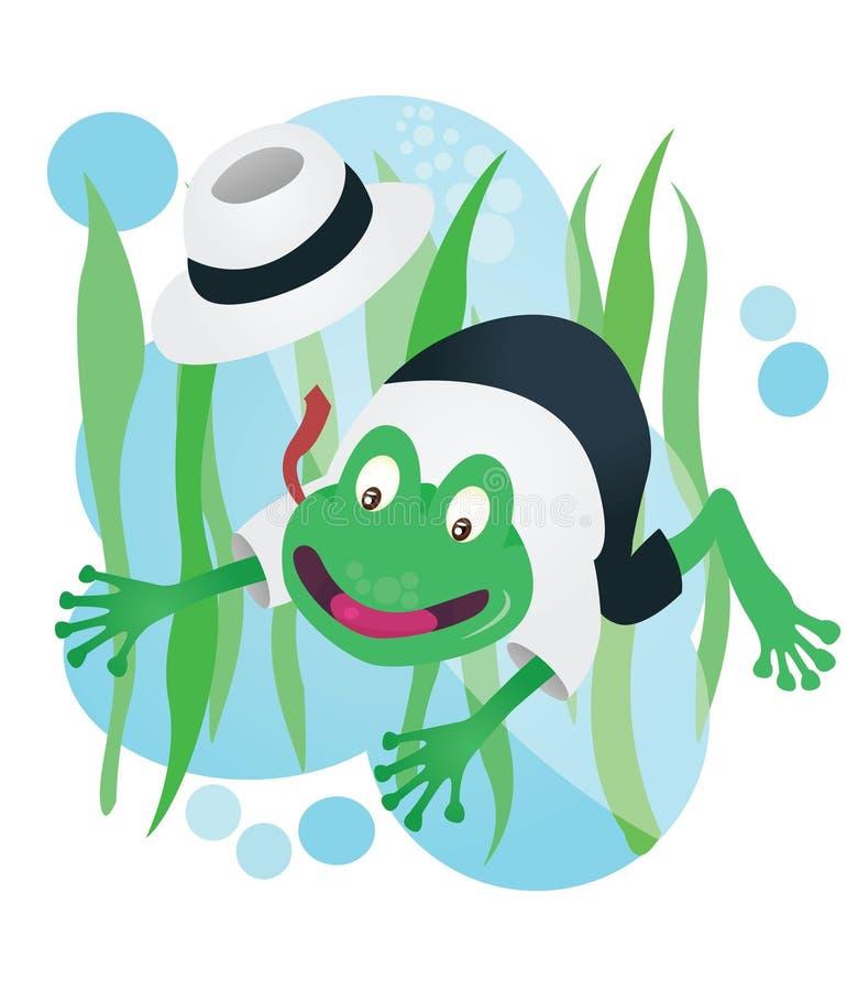 Mascotte felice della rana di affari in vestito illustrazione vettoriale