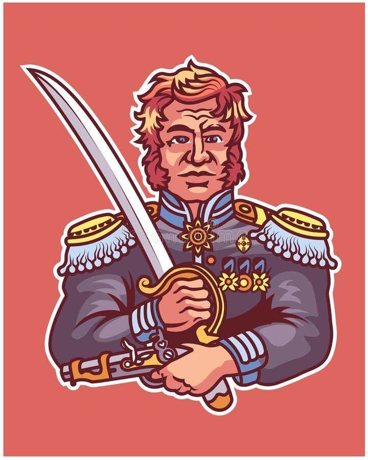 Mascotte générale Logo Badge de bande dessinée de révolution charismatique illustration de vecteur