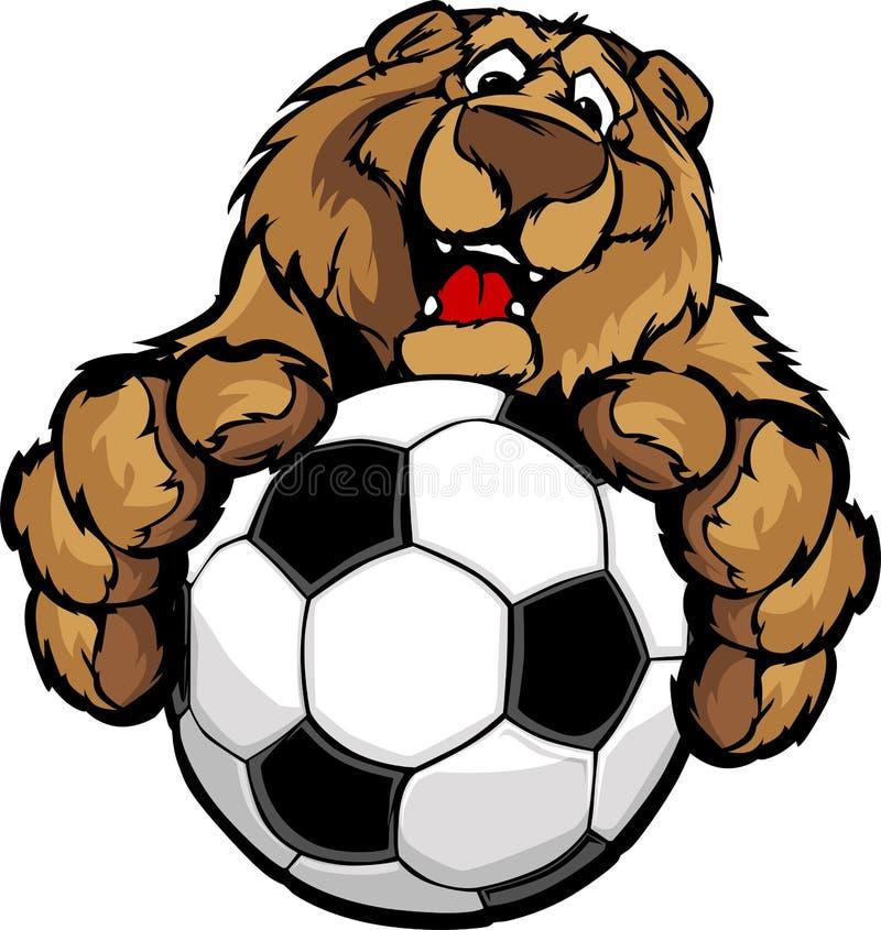 Mascotte heureuse mignonne d'ours avec la bille de football illustration libre de droits