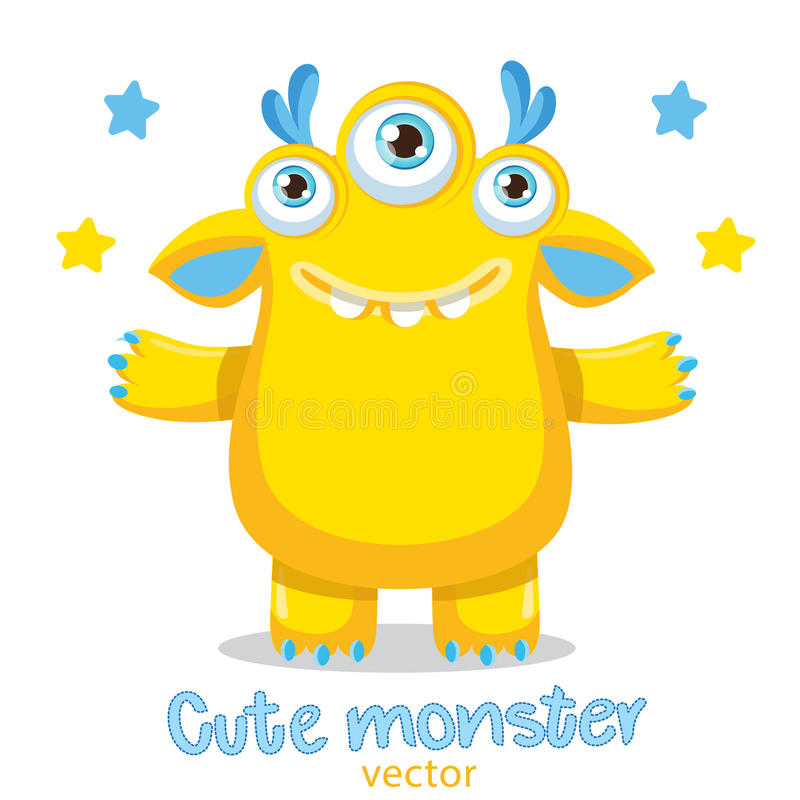 Mascotte jaune de monstre de bande dessinée Monstre amical Meme Véritable visage heureux illustration stock