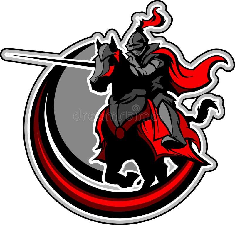 Mascotte joutante de chevalier sur le cheval illustration de vecteur
