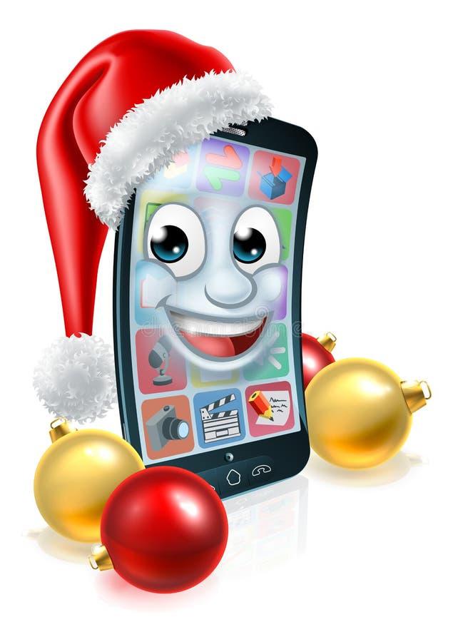 Mascotte mobile del telefono cellulare di Natale in Santa Hat illustrazione vettoriale