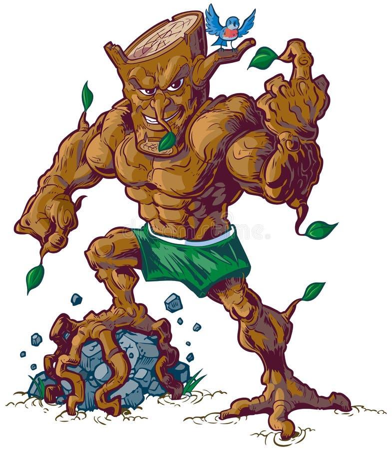 Mascotte muscolare dell'albero che schiaccia l'illustrazione di vettore della roccia illustrazione vettoriale
