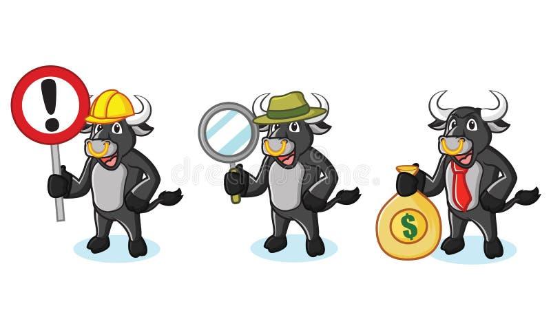 Mascotte nera del toro con soldi illustrazione di stock