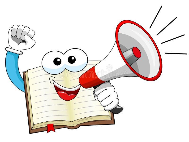 Mascotte open boek het spreken geïsoleerde megafoon royalty-vrije illustratie