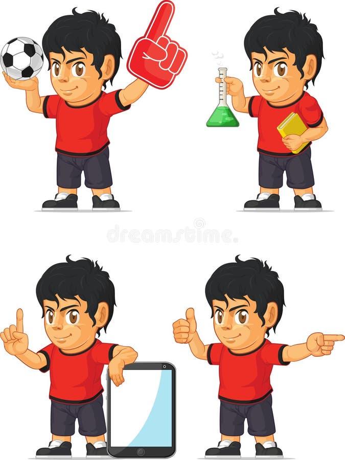Mascotte personalizzabile 7 del ragazzo di calcio illustrazione vettoriale