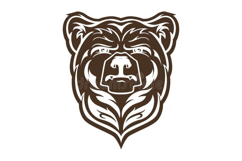 Mascotte principale d'ours, logo d'ours de vecteur, style maori tiré par la main de tatouage, pour l'emblème, affiche d'illustrat illustration de vecteur