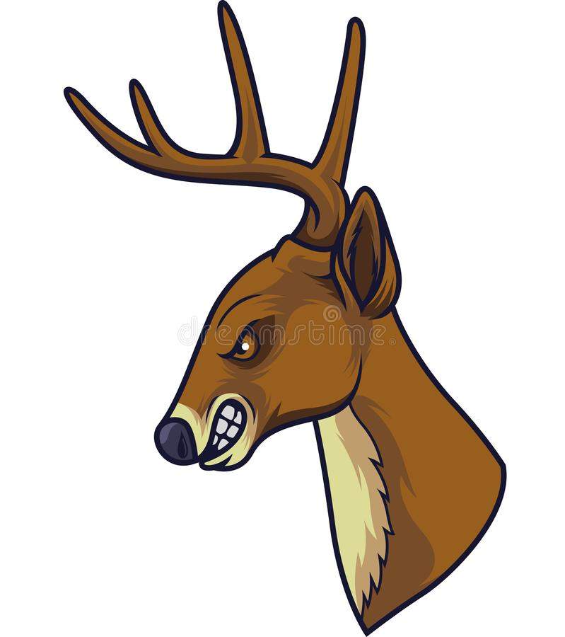 Mascotte principale de cerfs communs fâchés illustration de vecteur