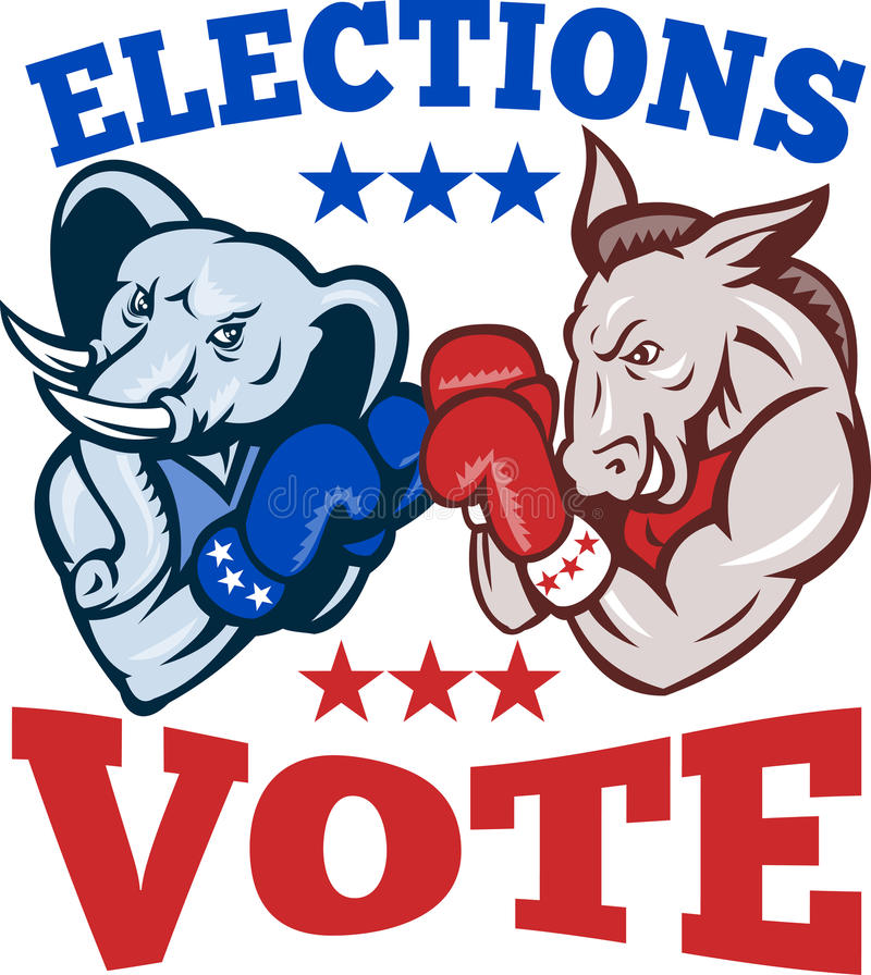 Mascotte républicaine d'éléphant d'âne de Democrat illustration stock