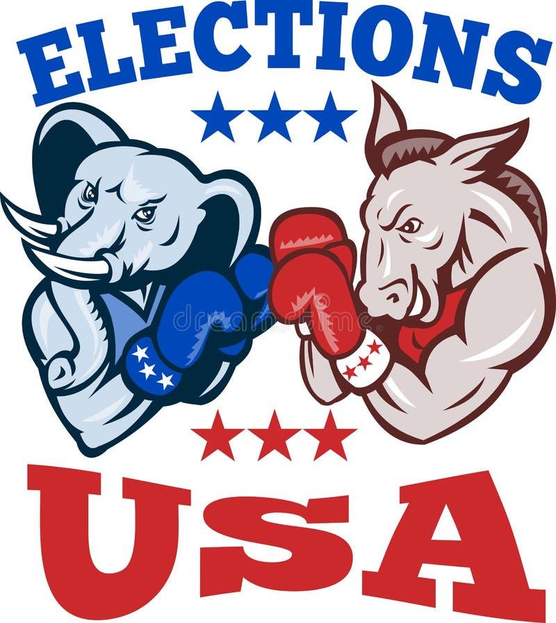 Mascotte repubblicana S.U.A. dell'elefante dell'asino del Democrat illustrazione di stock