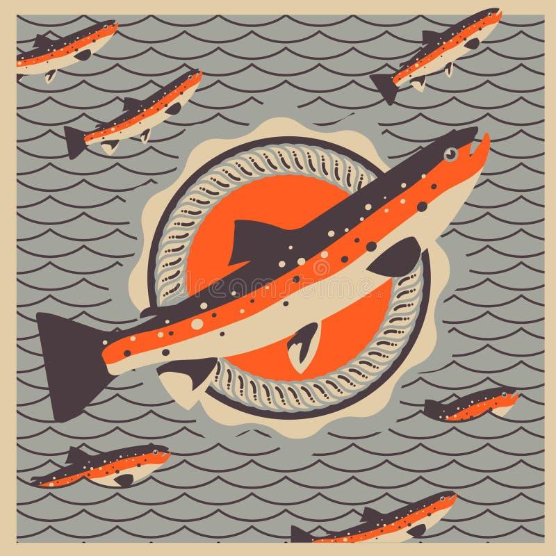 Mascotte saumonée de poissons au rétro arrière-plan de type illustration libre de droits