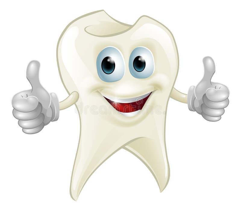 Mascotte sorridente del dente illustrazione di stock