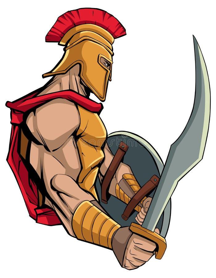 Mascotte spartana del guerriero royalty illustrazione gratis