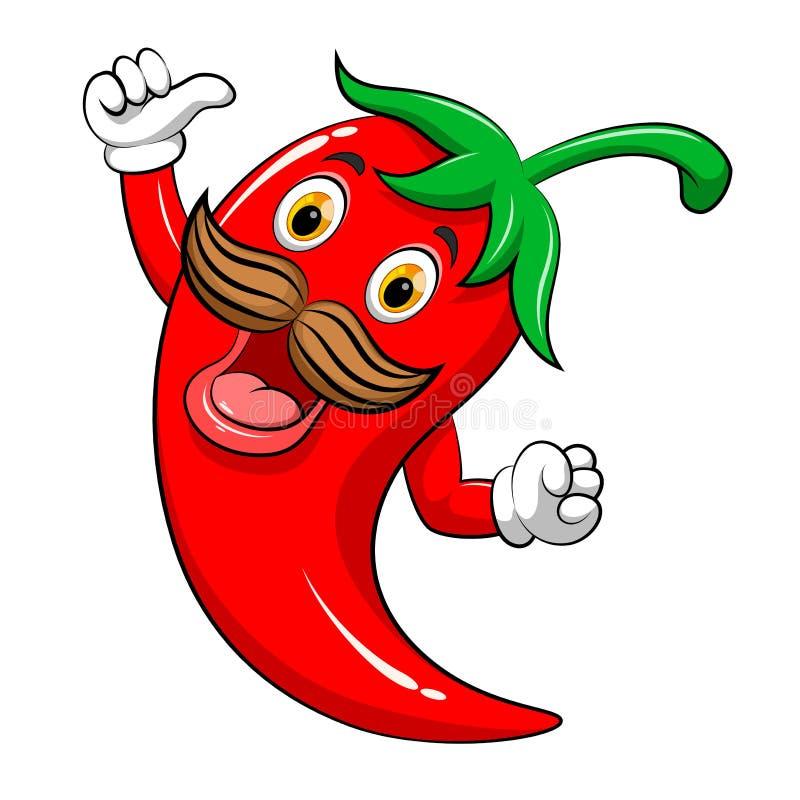 Mascotte squisita del peperoncino rosso illustrazione di stock