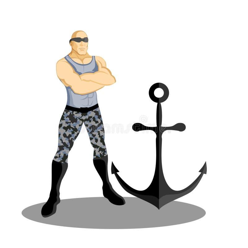 Mascotte superbe d'ancre de marine illustration libre de droits