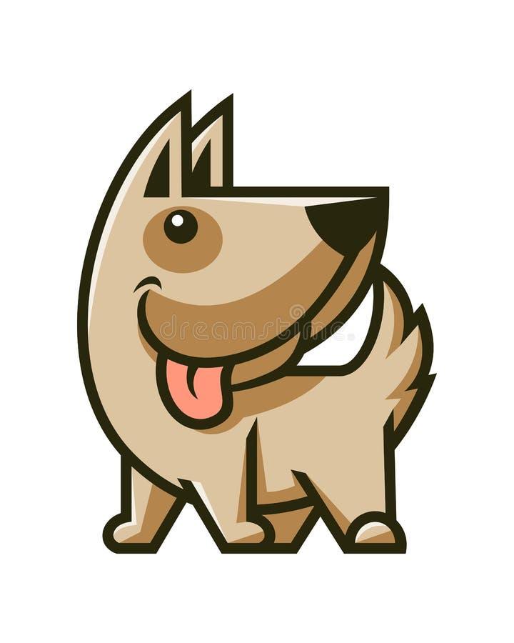 Mascotte sveglia del carattere del cane Icona sorridente del cucciolo illustrazione vettoriale