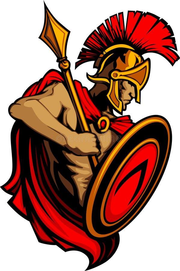 Mascotte Trojan spartana con il germoglio e lo schermo illustrazione di stock