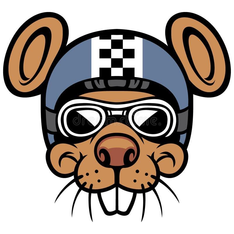Mascotte van de muis de hoofdruiter vector illustratie