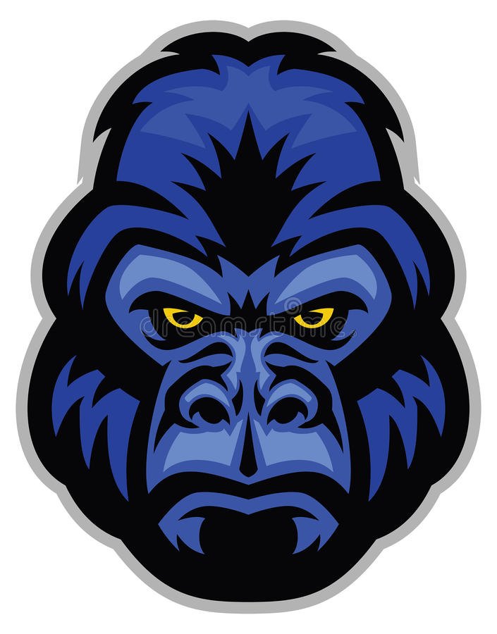 Mascotte van gorillahoofd stock illustratie
