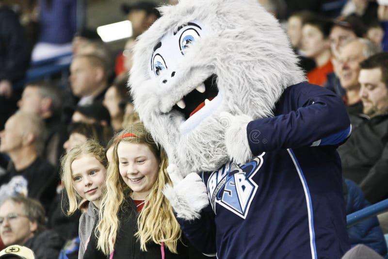Mascotte voor het Team van het Hockey van de Bladen van Saskatoon stock fotografie