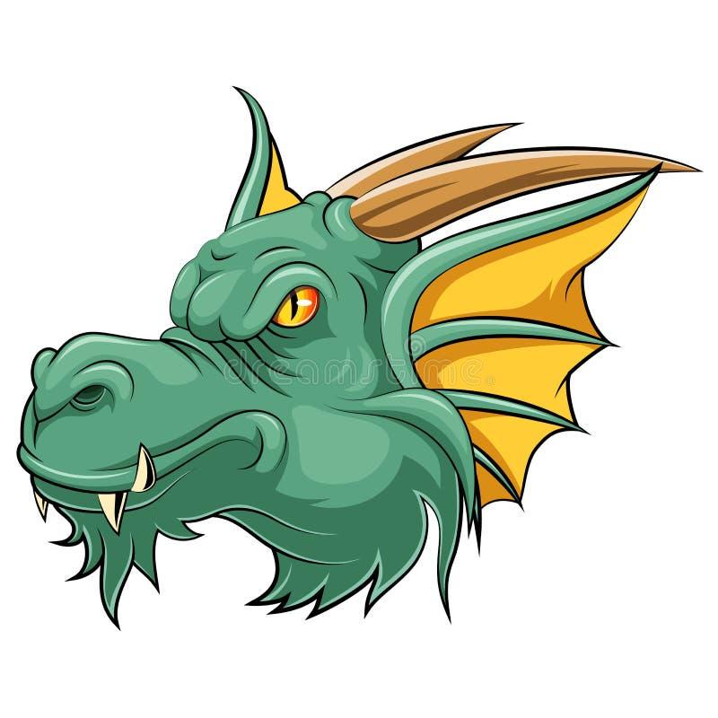 Mascottehoofd van een draak stock illustratie