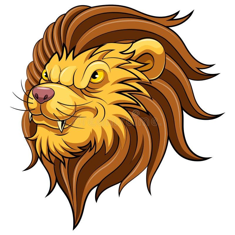Mascottehoofd van een leeuw stock illustratie