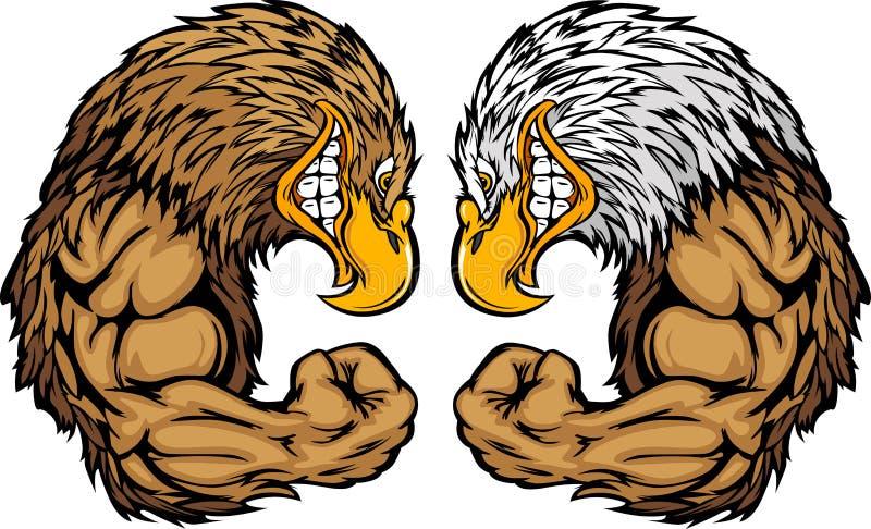 Mascottes d'aigle fléchissant le dessin animé de bras illustration stock