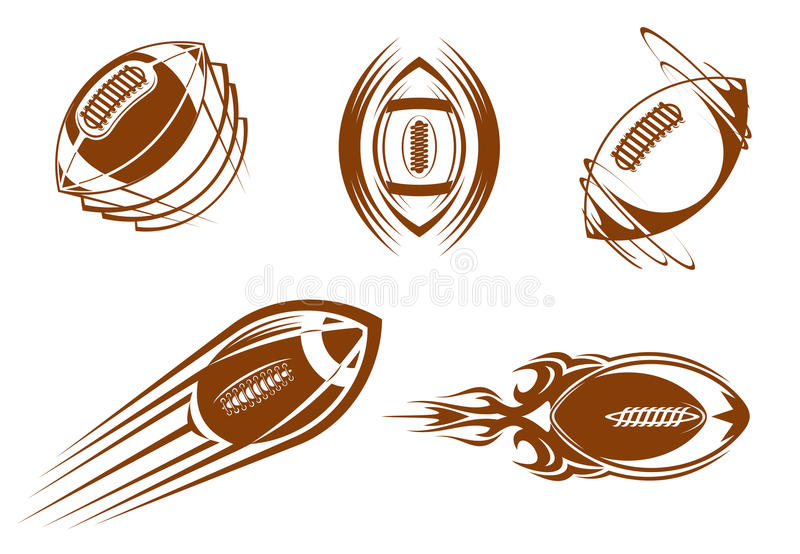 Mascottes de rugby et de football illustration stock
