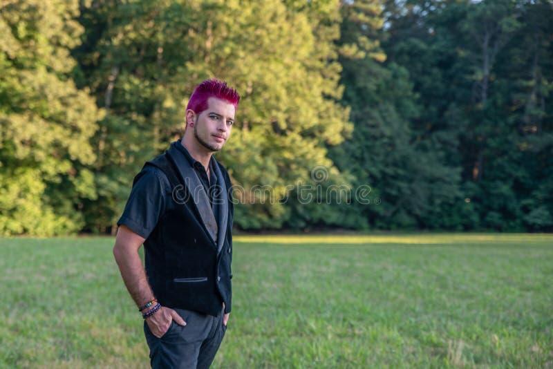 Masculin divers alternatif - vêtements noirs, cheveux roses souriant d'un air affecté à la caméra images libres de droits