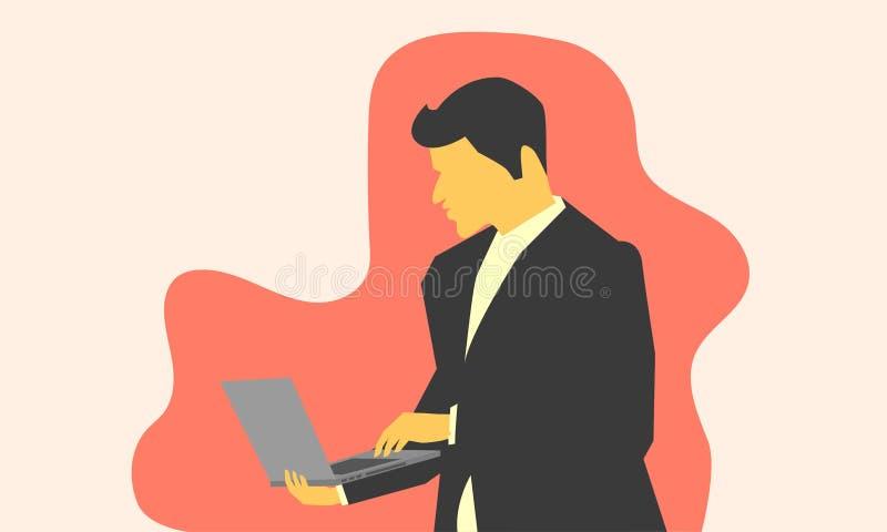 Masculin regardant quelque chose le labtop sur la main droite et l'article choisi gauche Illustration EPS10 de vecteur illustration libre de droits