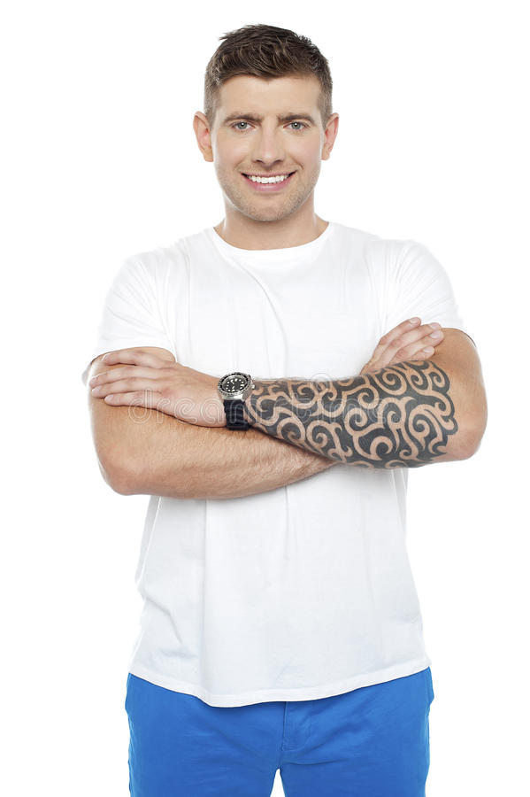 Masculine Chap With Massive Tattoos Royalty Free Stock Photography