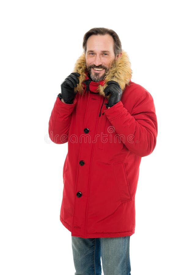 Masculine hobby. Comfortable outfit. Mature man warm jacket white background. Exploration of polar regions. Winter stock photos