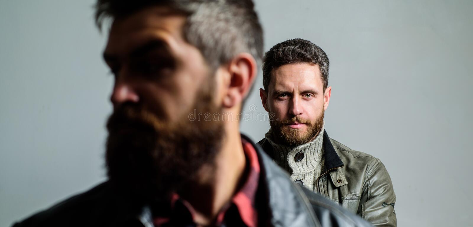 Masculinity and brutal appearance. Male hair care tips. Barbershop concept. Men handsome with beard and mustache facial. Hair. Barber and beard grooming stock photography