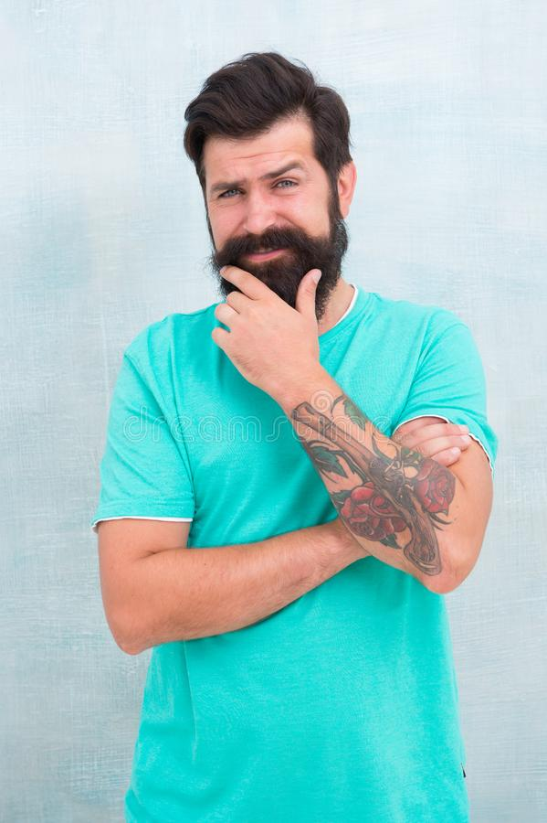 Masculinity and brutality. Stay away from parabens silicones artificial colors. Hipster barber. Barbershop salon. Barber stock photography