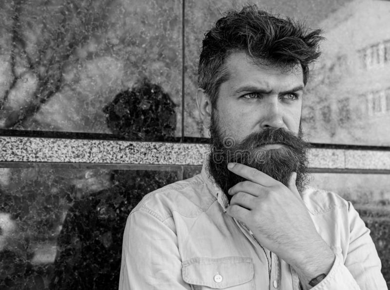 Masculinity concept. Hipster with tousled hair touches beard while looking into distance. Guy looks suspicious. Man with. Beard and mustache on thoughtful stock photo
