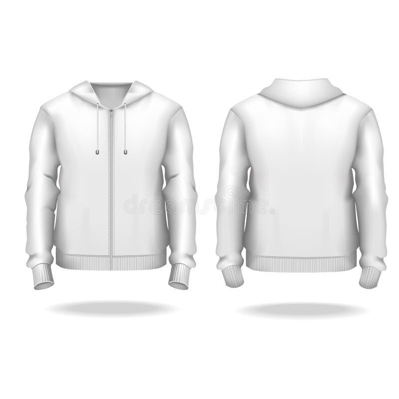 Masculinos blancos del espacio en blanco detallado realista de la plantilla 3d relampagan para arriba mofa de la sudadera con cap ilustración del vector