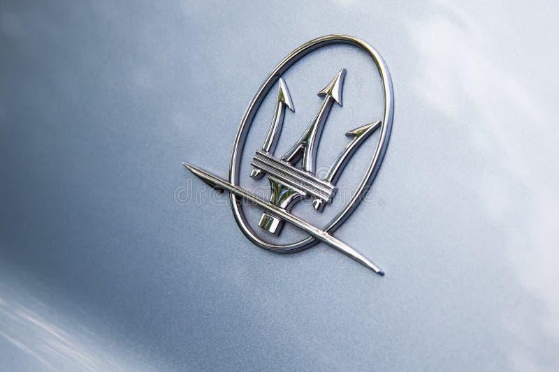 Maserati car logo, closeup photo stock photo