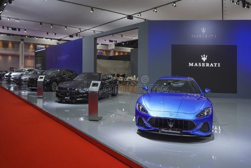 Maserati Gran Turismo auf Anzeige in Autoausstellung 2019 lizenzfreies stockfoto