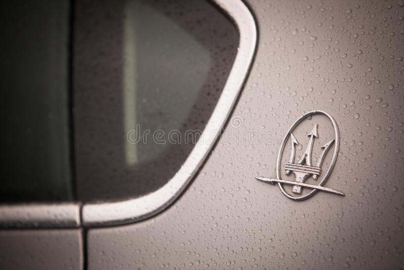 Maserati logo on a car stock images