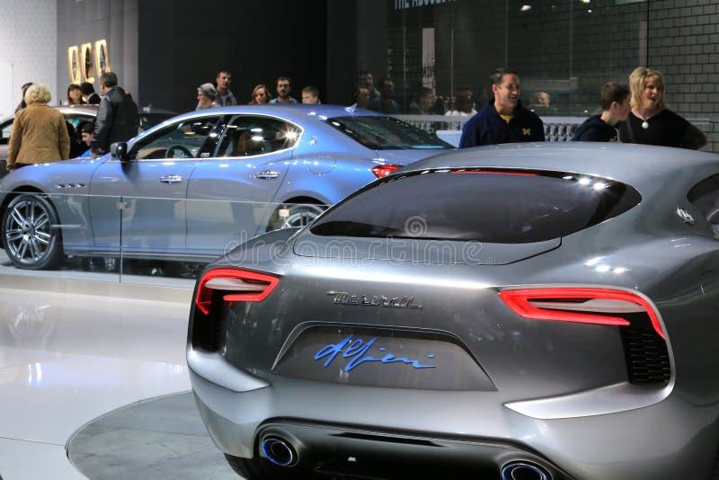 Maserati samochody wystawiający przy auto przedstawieniem zdjęcie royalty free