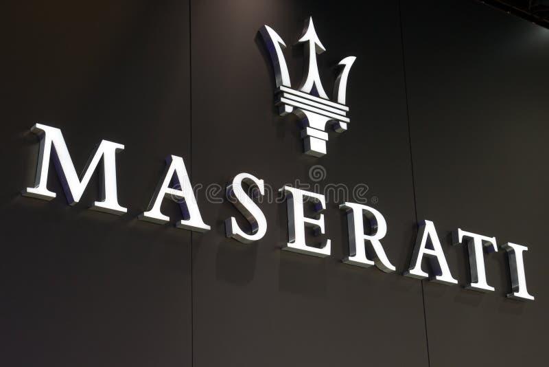 Maserati tecken fotografering för bildbyråer