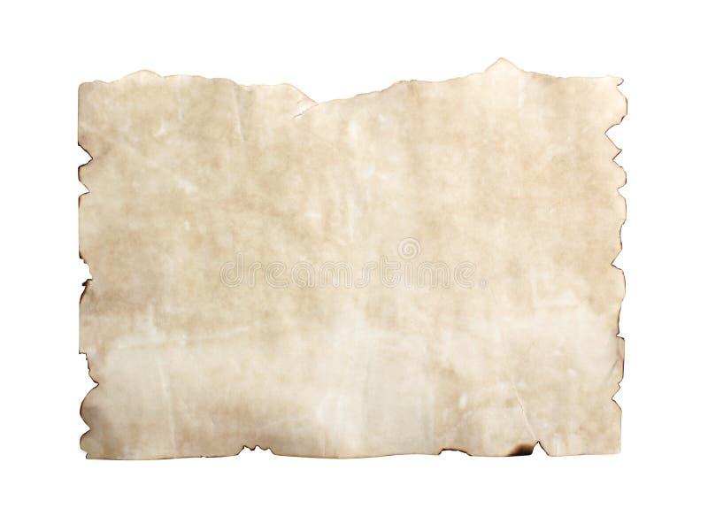 Masern Sie altes braunes Schmutzpapier mit den gebrannten Randmustern, die auf weißem Hintergrund mit Beschneidungspfad lokalisie stockfotografie